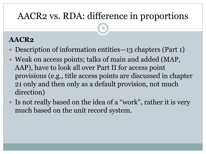 AACR2 vs. RDA: difference in proportions