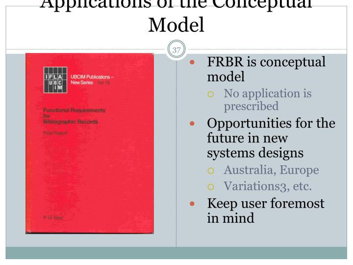 Applications of the Conceptual Model