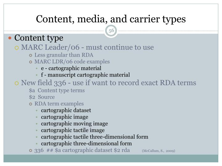 Content, media, and carrier types