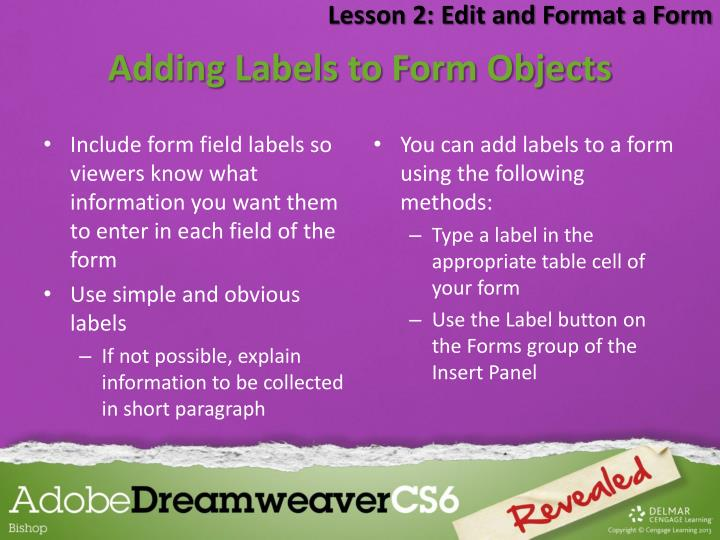 Lesson 2: Edit and Format a Form