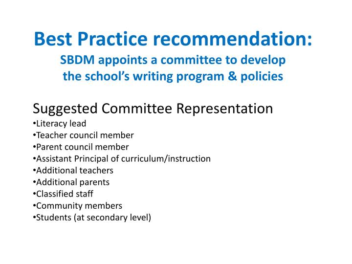 Best Practice recommendation: