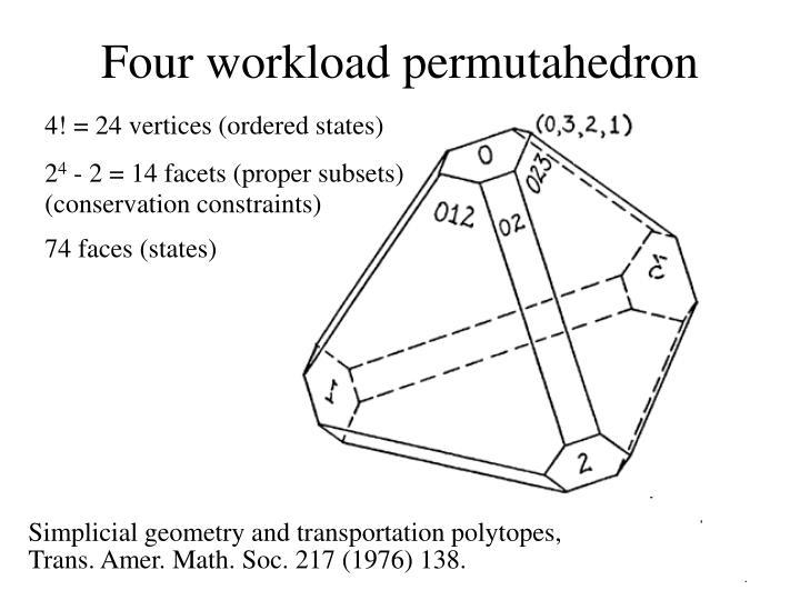 Four workload permutahedron