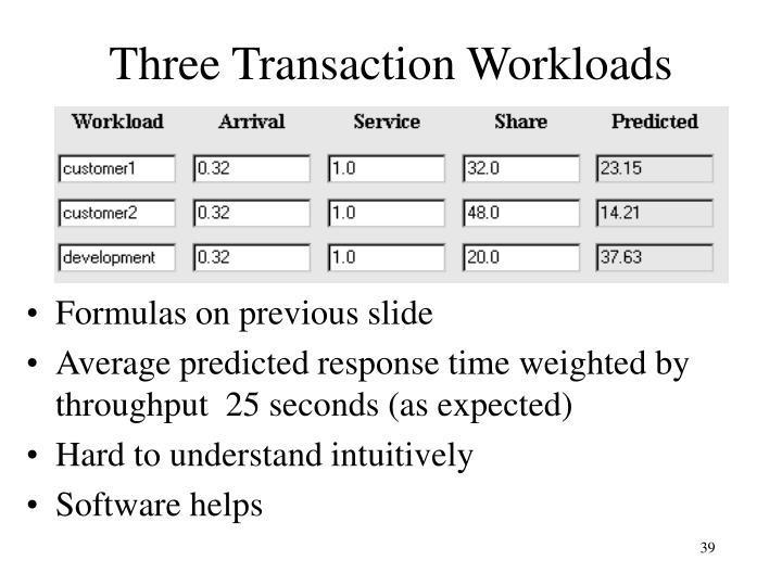Three Transaction Workloads