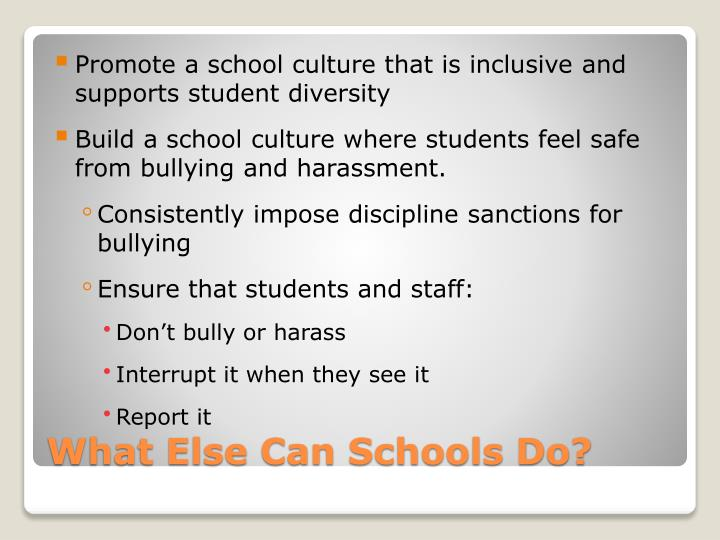 Promote a school culture that is inclusive and supports student diversity