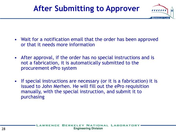After Submitting to Approver