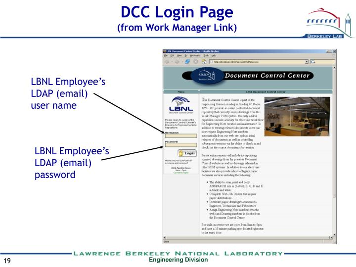 DCC Login Page
