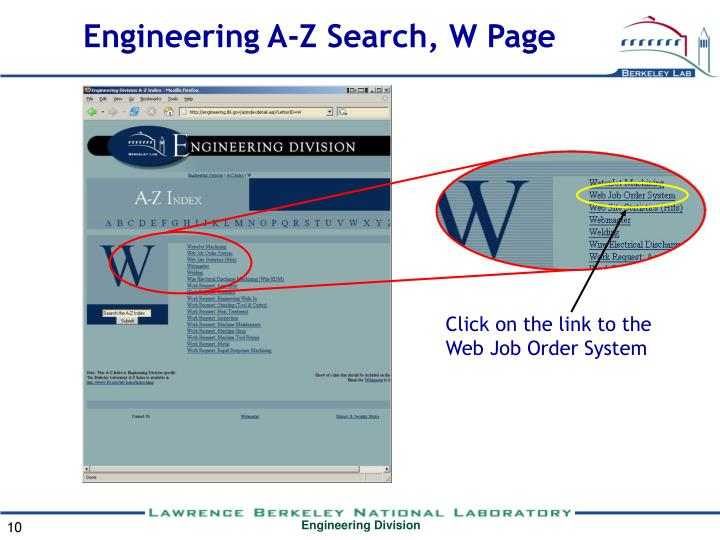 Engineering A-Z Search, W Page