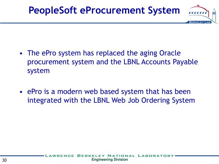 PeopleSoft eProcurement System