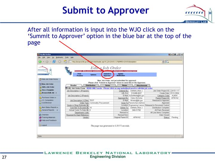 Submit to Approver
