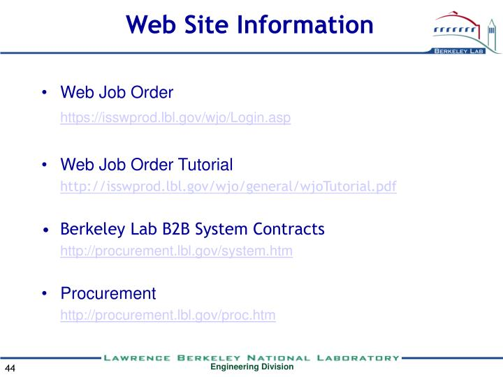 Web Site Information