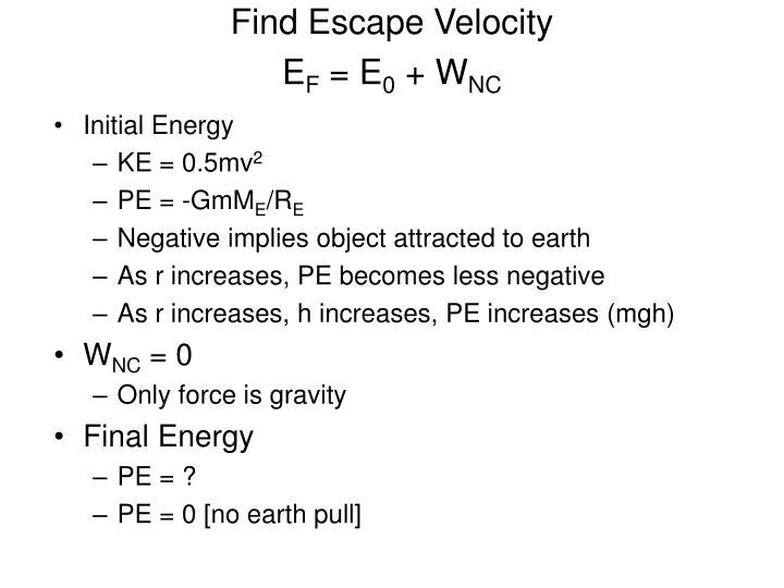 Find Escape Velocity