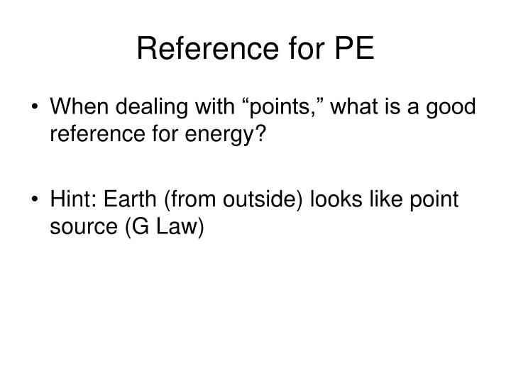 Reference for PE