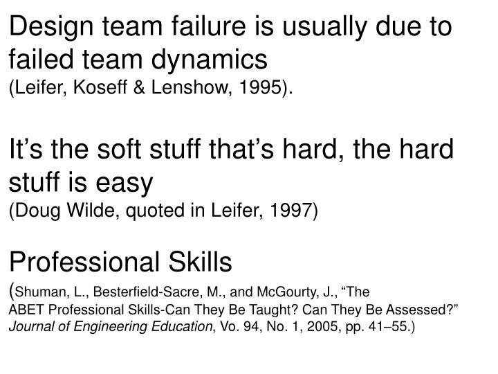 Design team failure is usually due to failed team dynamics