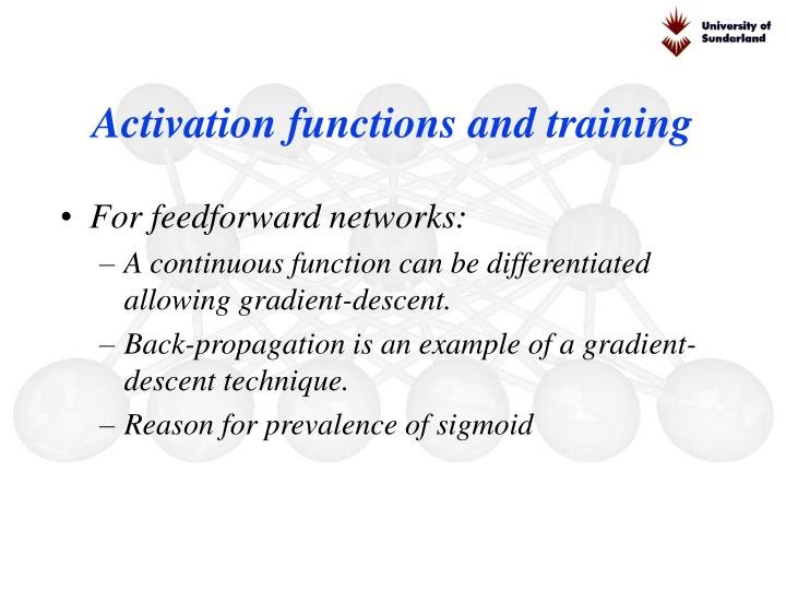 Activation functions and training