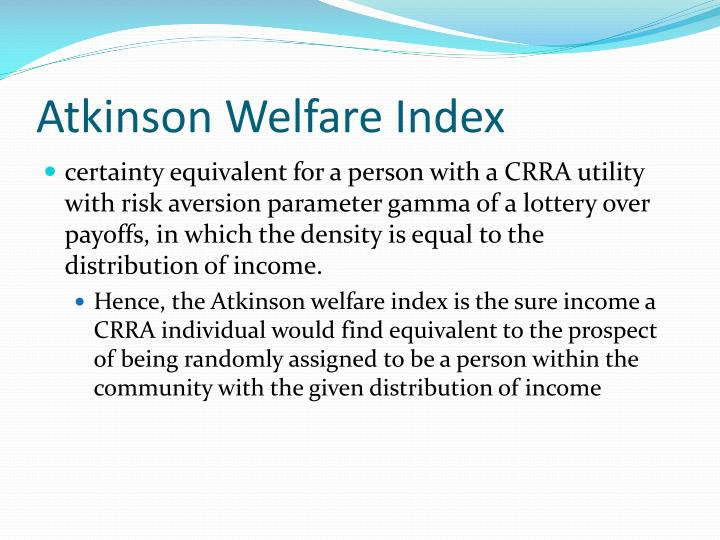 Atkinson Welfare Index