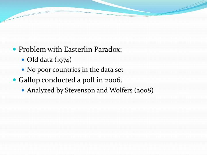 Problem with Easterlin Paradox: