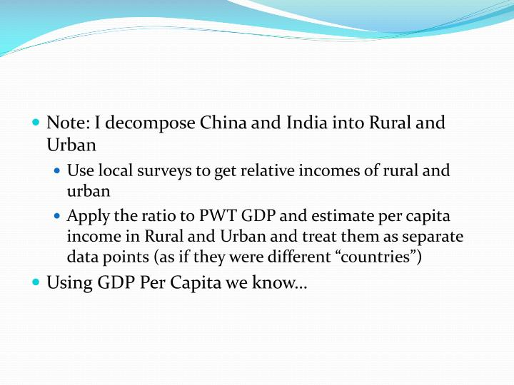 Note: I decompose China and India into Rural and Urban