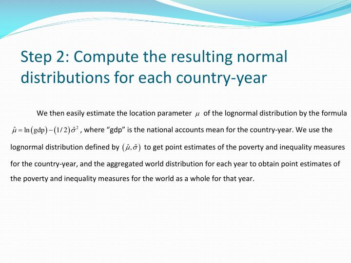 Step 2: Compute the resulting normal distributions for each country-year