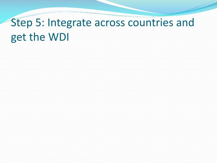 Step 5: Integrate across countries and get the WDI