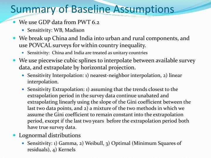Summary of Baseline Assumptions