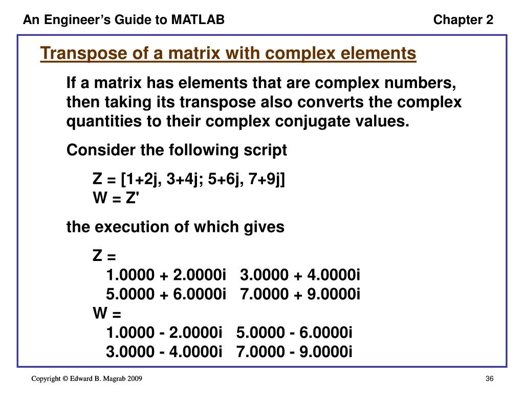 Beaches] Matlab transpose complex numbers