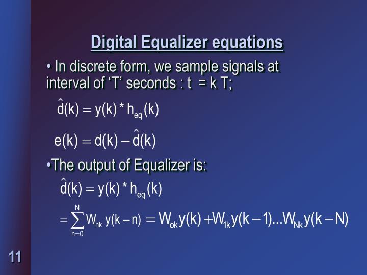 Digital Equalizer equations