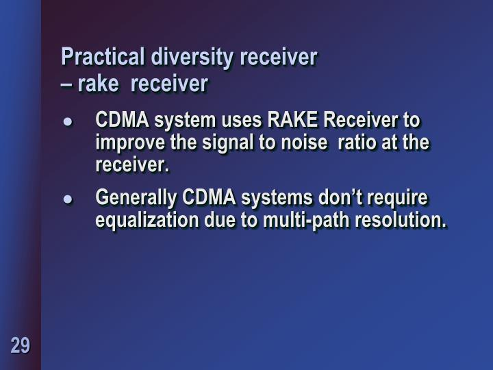 Practical diversity receiver
