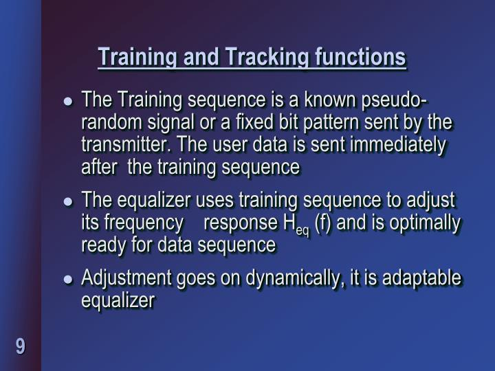 Training and Tracking functions