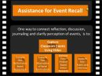 assistance for event recall