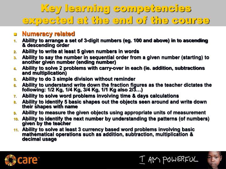 Key learning competencies expected at the end of the course