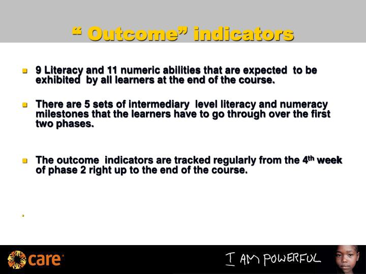""" Outcome"" indicators"