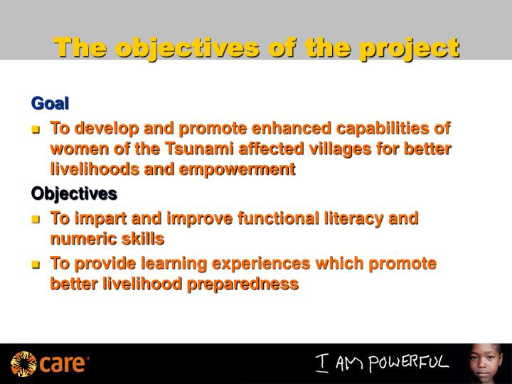 The objectives of the project