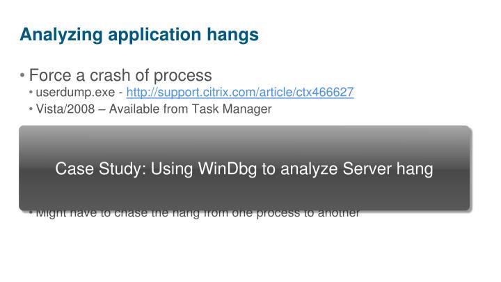 Analyzing application hangs