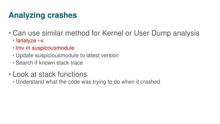 Analyzing crashes