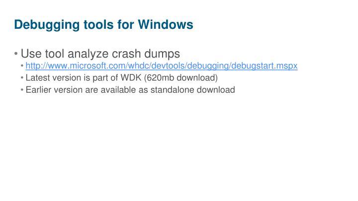 Debugging tools for Windows