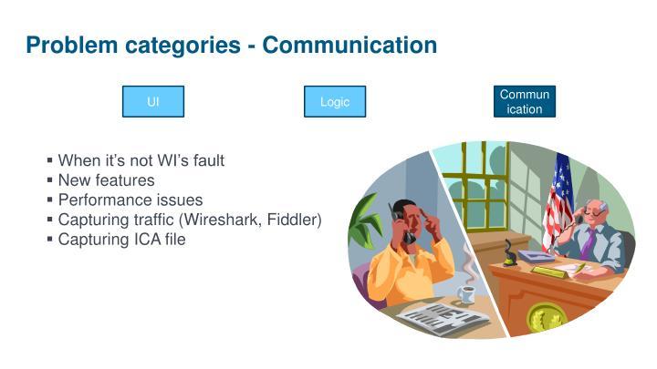Problem categories - Communication