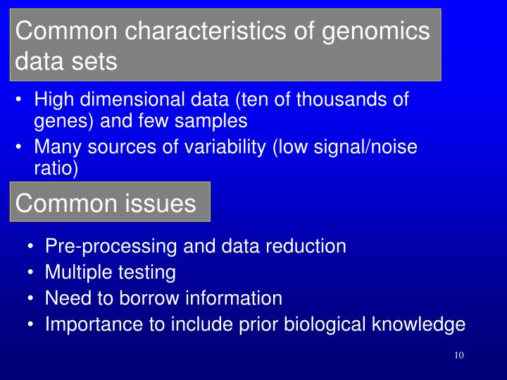 Common characteristics of genomics data sets