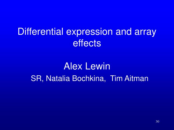 Differential expression and array effects