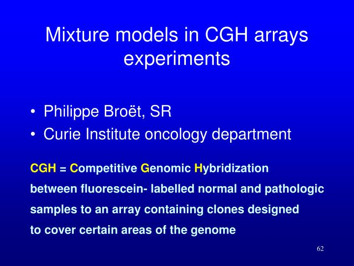 Mixture models in CGH arrays experiments