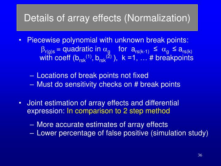 Details of array effects (Normalization)