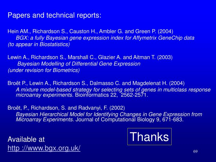 Papers and technical reports: