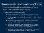 requirements upon issuance of permit