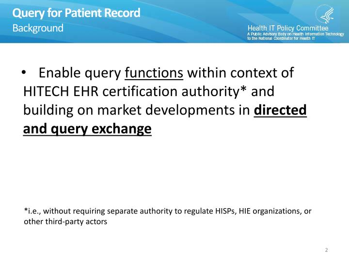Query for patient record background