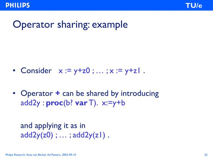 Operator sharing: example