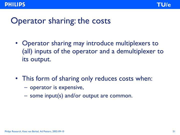 Operator sharing: the costs
