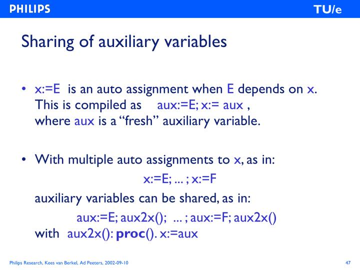 Sharing of auxiliary variables
