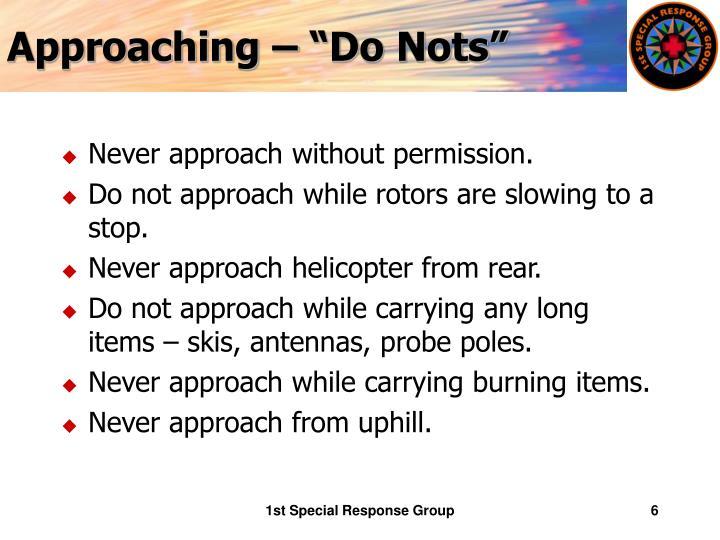 """Approaching – """"Do Nots"""""""