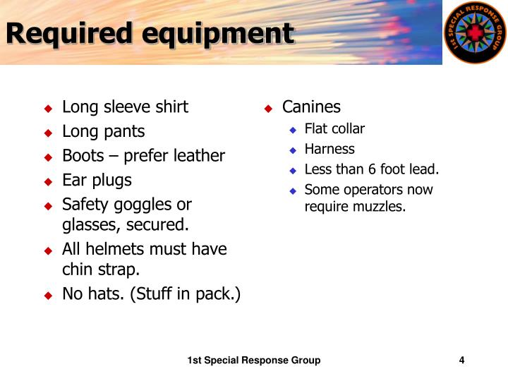 Required equipment