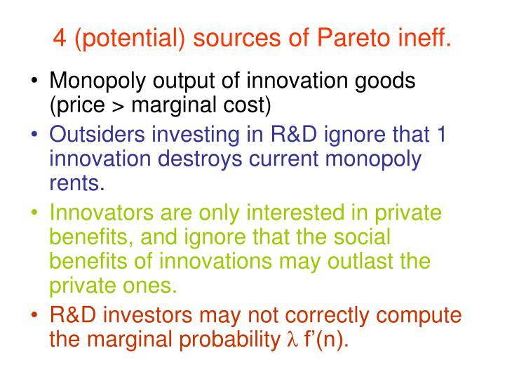 4 (potential) sources of Pareto ineff.