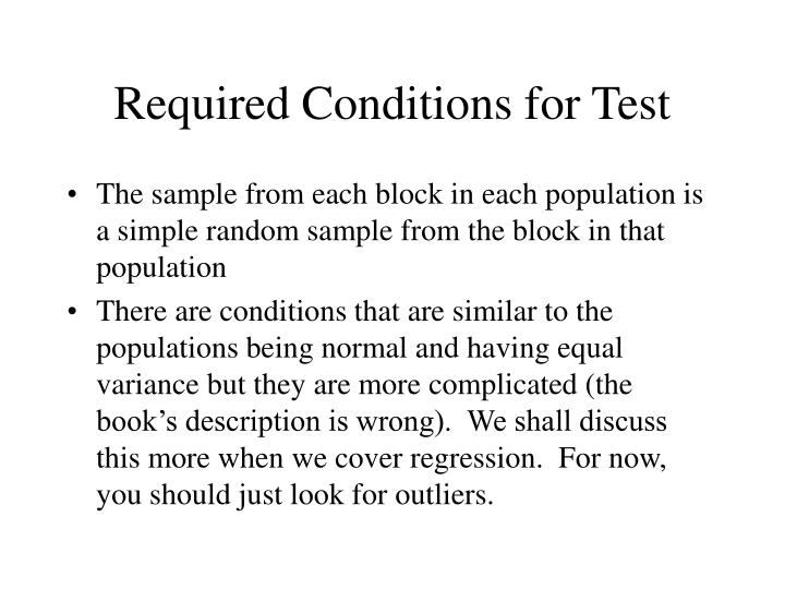 Required Conditions for Test